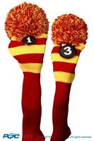 1 3 Classic RED YELLOW KNIT POM golf club Headcover pom Head covers Set colors
