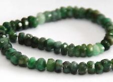 Demi-Strand Vert Profond Texturé Emerald Faceted Blotter Perles, 4 mm, Gemstone