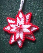Vintage Miniature Red & White Needlepoint Moravian Star Christmas Ornament