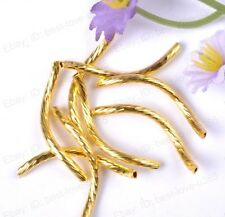 Wholesale lots 200pcs Gold Curved Tube Spacer Beads 25MM BE94