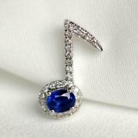 1.50Ct Oval Cut Blue Sapphire Music Key Pendant 14K White Gold Finish Free Chain