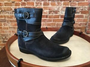 Clarks Whistle Ranch Black Suede Buckle Ankle Boot NEW