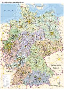 Postleitzahlenkarte PLZ Deutschland mit Bundesländern Wand Karte Poster A0