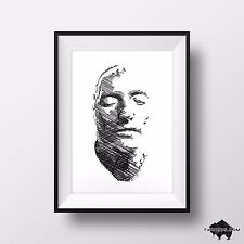 Napoleon Bonaparte Death Mask Drawing - Signed Original Pen & Ink Illustration