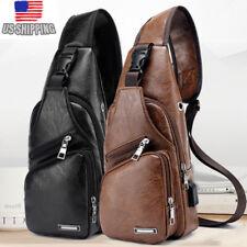 US Mens Black Leather Crossbody Bag Single Shoulder Bag USB Sports Chest Bag