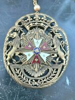 Brass VETERANS of ARMY OF THE POTOMAC Enamel CROSS Pin Necklace UNION MEDAL