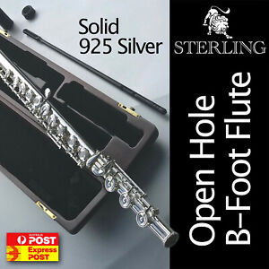 SOLID 925 SILVER OHB Flute • Wooden Case • Professional Quality • Brand New •