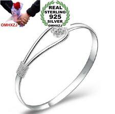 Romantic Fashion Cherry Flower Woman Sterling 925 Silver Adjustable Bangles SZ08