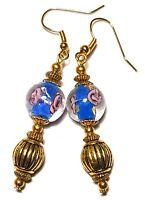 Long Gold Blue Earrings Drop Dangle Glass Beads Costume Jewellery Pierced Hook