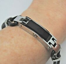 "8.5"" Black Cremation Bracelet Stainless Black Leather Urn Bracelet Ashes Jewelry"
