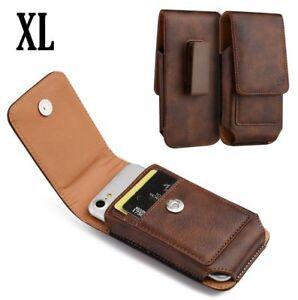 for XL Phones - Brown VERTICAL Leather Pouch Holder Belt Clip Card Holder Case
