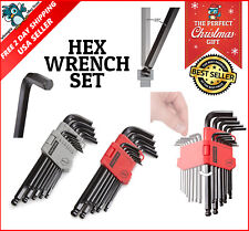 Ball Hex Key Wrench Set Driver Socket Allen L Wrench 2 Pack Set Metric Inch 26pc