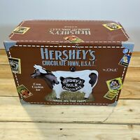 Vintage 1998 Hershey's Chocolate Town USA Ceramic Cow Cookie Jar by Jonal In Box