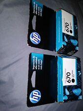 670 HP Genuine Deskjet Ink Advantage 2 Black Cartridges 3525,4615,4625,5525