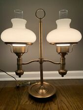 Vintage Heavy Bronze Student Lamp W/Double White Shades 22.5�