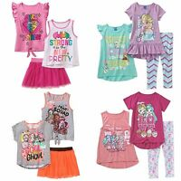 New Girls 3 pcs outfit sets Tank Tee Skirt leggings Frozen Monsters Shopkins