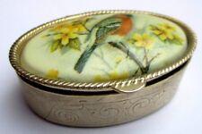 boite rétro accessoire vintage ciselé couleur or pilulier cabochon oiseau P