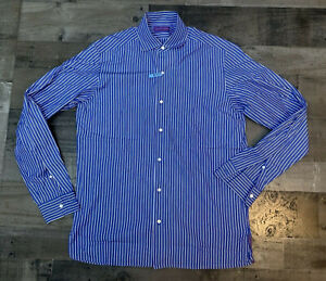 Ralph Lauren Purple Label Mens Button Up Shirt Italy Blue White Striped Medium