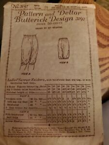 ANTIQUE 1919 Butterick  Sewing Pattern  Womens Bloomers knickers waist 26 hip 36
