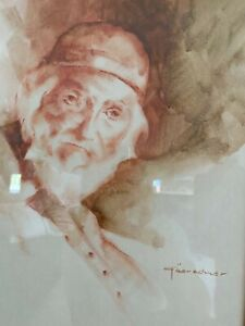 """Ted Goerschner Original Signed Oil Painting """"The New Arrival"""" Oil on Rag Paper"""