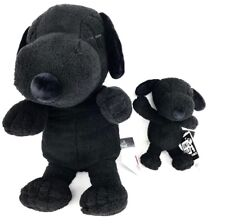 Set Of Kaws x Uniqlo Peanuts Snoopy Plush Black Large And Small IN HAND