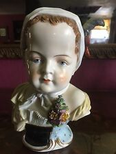 ~BUST OF GIRL  IN KERCHIEF WITH CORSAGE~DRESDEN~ Antique Rare!