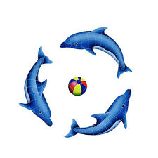 Dolphin Group with Beach Ball Ceramic Swimming Pool Mosaic
