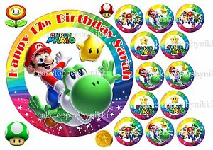 Edible Super Mario Yoshi Rainbow Cake Cupcake Toppers Personalised & Rice Paper