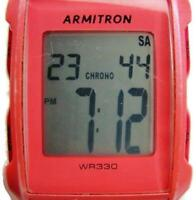 Armitron Digital Pro Sport WR 330ft Pink Silicone Band New Battery Woman Watch