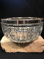 "Vintage Clear Cut Glass Bowl Silver Rim Stamped England On Silver 8"" Diameter"