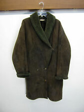 EUC! Michael Max Shearling Coat brown suede lambskin sz 38 vtg made in England