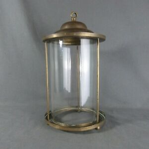 French Vintage Art Deco Copper Chandelier with Round Glass 1930's