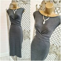 G21  UK 10 New Sexy Grey Stretch Jersey Twisted Waist Midi Dress