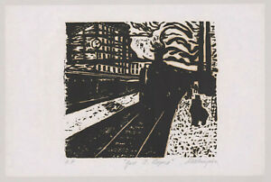 Alex Tschernjawski,Woodcut,Gare St. Lazare,Paris,Yugoslavian,Train,Landscape