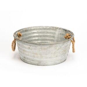 Zinc Metal Tub With Rope Handles