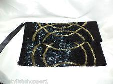 """M&S Envelope Clutch Bag /Wristlet All EMBELLISHED Saints Gold & Black 11""""x7"""" NEW"""