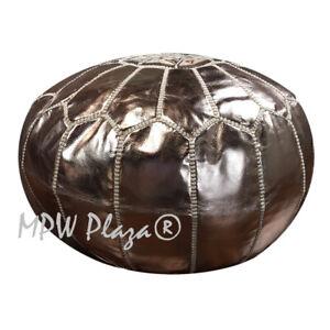 MPW Plaza Pouf, Rose Gold, Moroccan Leather Ottoman (Stuffed)