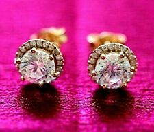 Genuine 9K Gold Halo stud earrings: 9mm Halo Stud Simulated Diamond gift for her