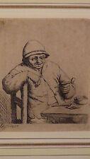 "ADRIAN VAN OSTADE (1610-1615,DUTCH)ETCHING ON PAPER""THE PIPE  SMOKER""CIRCA19c"