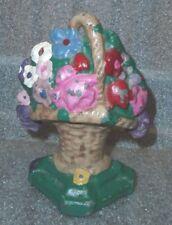 genuine old painted cast iron flower basket door stop