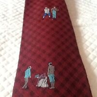 Vintage MARSHALL FIELDS Tie Silk Tie USA Golf Theme Red