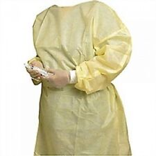 10 FLUID RESISTANT YELLOW BARRIER ISOLATION LATEX FREE GOWNS WITH ELASTIC WRIST