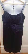 COUNTRY ROAD Navy Satiny Silk Blend Sleeveless Zipper Back Cocktail Dress