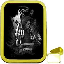 GRIM REAPER CARD 2oz GOLD TOBACCO TIN, SEALED TOBACCO TIN