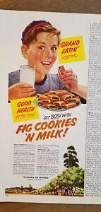 1953 California fig Institute boy eating cookies and milk food ad