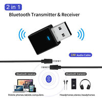2 in 1 bluetooth 5.0 Wireless USB Audio Transmitter/Receiver Adapter 3.5mm AU WE