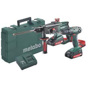 Metabo 18V batería Taladro BS18 + Combi Martillo Kha 18 Ltx Juego Baterías Set