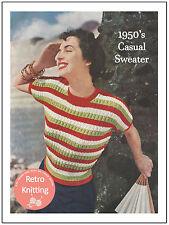 1950's Striped Magyar Sweater Knitting Pattern  - Copy - Rockabilly