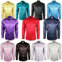 Mens Satin Shiny Silk Feel Smart Casual Dress Wedding Casual Shirt 422