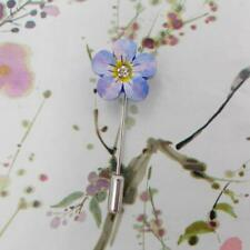 Small FORGET-ME-NOT PIN Floral Friendship Brooch Masonic Lapel Pin HAND PAINTED